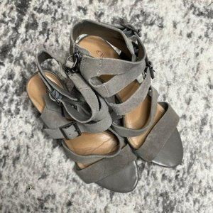 Crown Vintage Gray Suede Wedge Sandals Serena